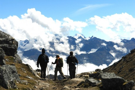 Heading from the Salkantay Pass to Wayra Lodge
