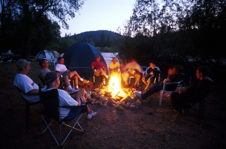 Family Camping on the American River in California