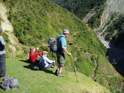 Hiking above the Urubamba River in Peru