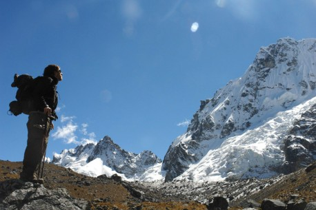 Salkantay Pass at 15,000 ft with Salkantay Peak in the background