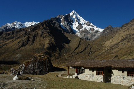 View of the Wayra Lodge with the Humantay Peak in the background
