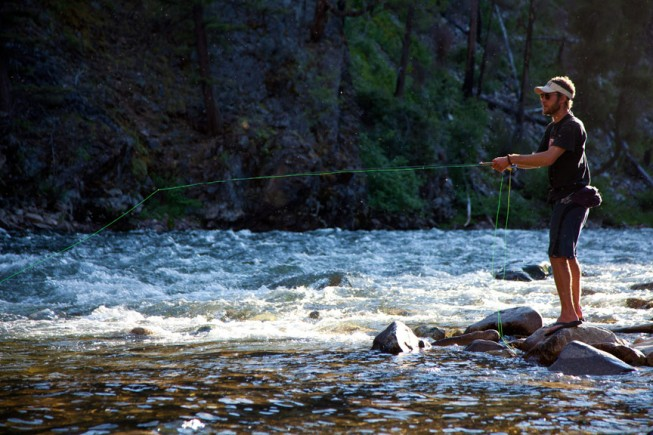 Fly fishing on the Salmon River in Idaho