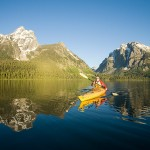 Grand Tetons National Park, Wyoming Kayaking on Jackson Lake is a way to travel intothe heart of Grand Teton National Park, but have it all to yourself. Want to camp under the stars? O.A.R.S. is the only outfitted paddler authorized to spend the night at the idyllic beach camp on Grassy Island. Photo: Justin Bailie