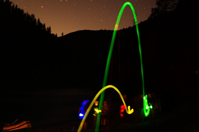 Glow in the dark bocce on an O.A.R.S. rafting trip