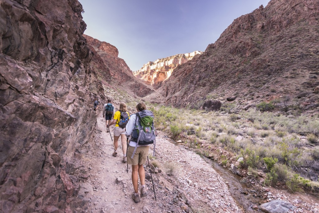 Hiking up the Bright Angel Trail