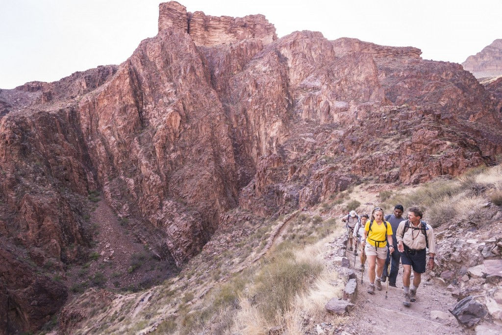 Hiking through Vishnu Schist, the oldest layers in the Grand Canyon
