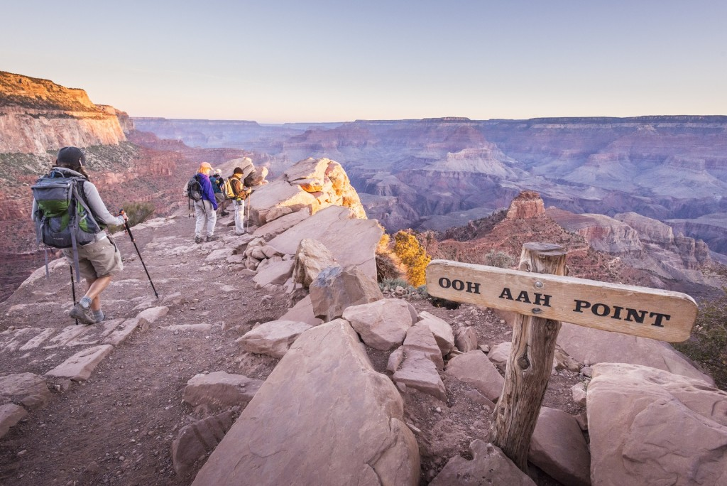 Hiking on the South Kaibab Trail before dawn.