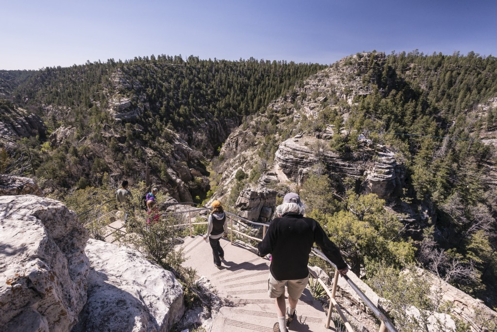 Descending into Walnut Canyon.