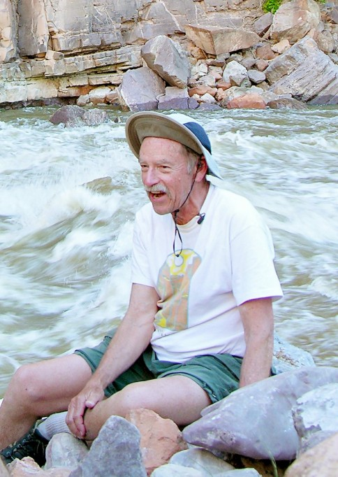 OARS founder George Wendt at Warm Springs Rapid on the Yampa