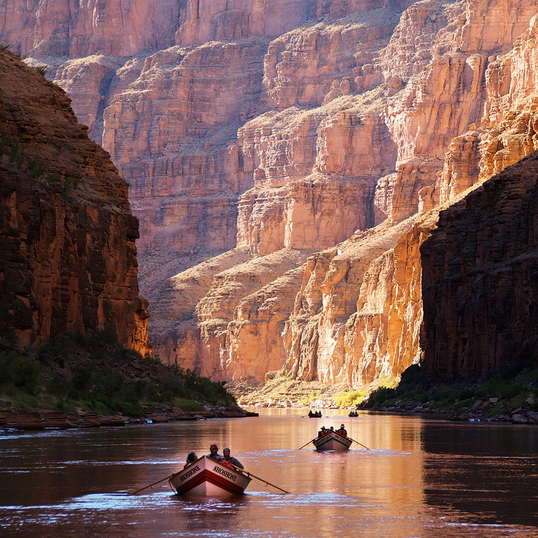 Dories rafting in the Grand Canyon