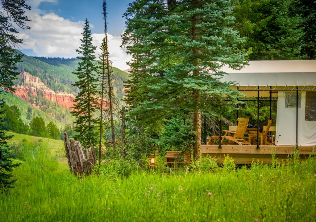 The Resort at Paws Up – Montana Located on Montana's Blackfoot River, Paws Up goes above and beyond for its tent camping guests, with private camp butlers, a concierge tent serving gourmet breakfast, snacks, and drinks, and luxury bedding. Plus, daily activities at Paws Up can include cattle wrangling, helicopter rides, hot air balloon journeys, and fly fishing.