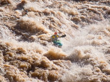 Blind kayaker Erik Weihenmayer in Lava Falls