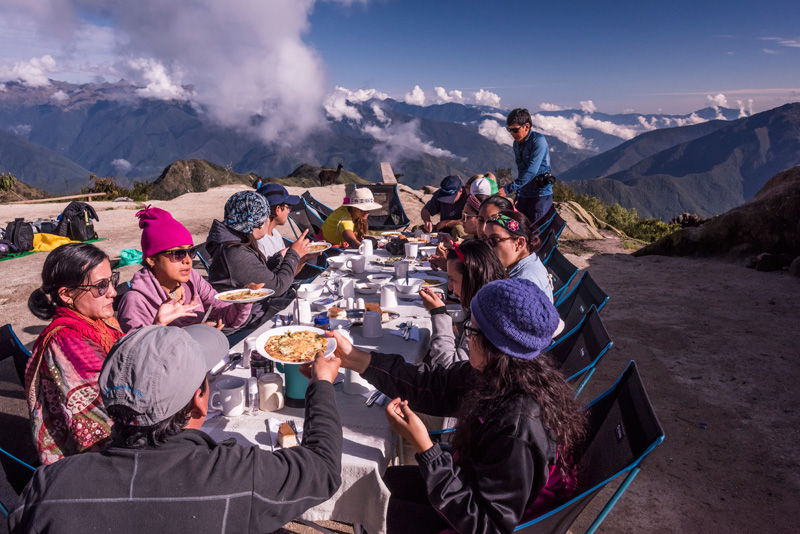 Group meal on the Inca Trail Trek