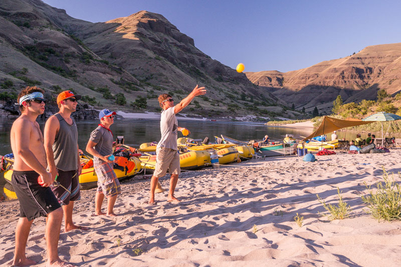 Camp time on a Lower Salmon whitewater rafting trip in Idaho