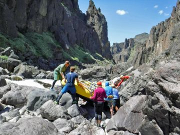 Portaging Widowmaker Rapid on the Middle Owyhee