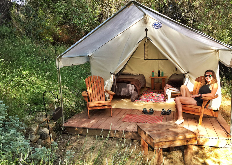 Platform tents at OARS American River Outpost