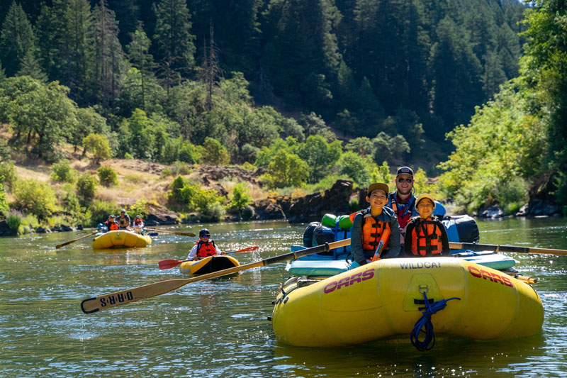 families on a rogue river rafting trip