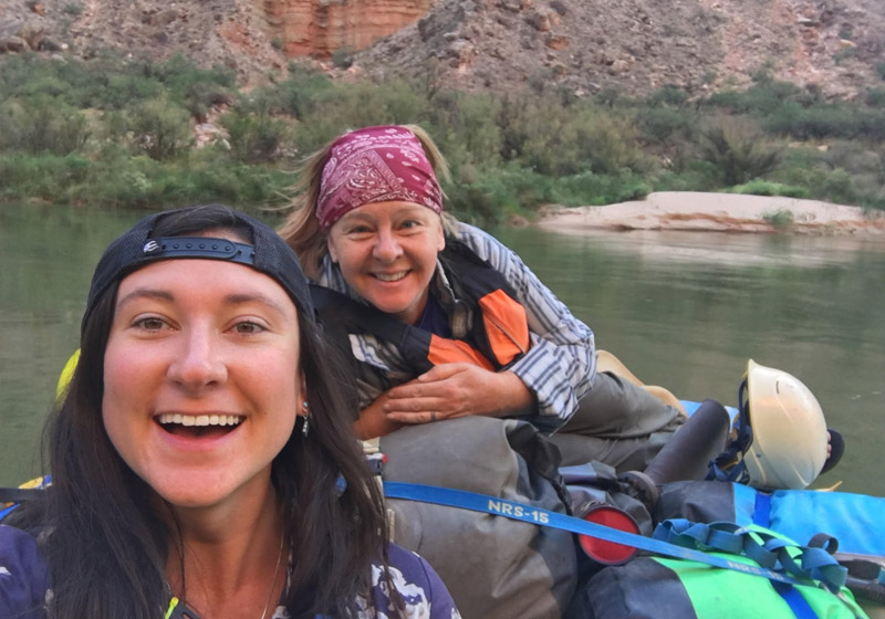 OARS guide Sara O'Donnell on a Grand Canyon rafting trip