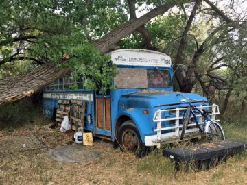Old Hatch Bus at OARS Dino in Vernal