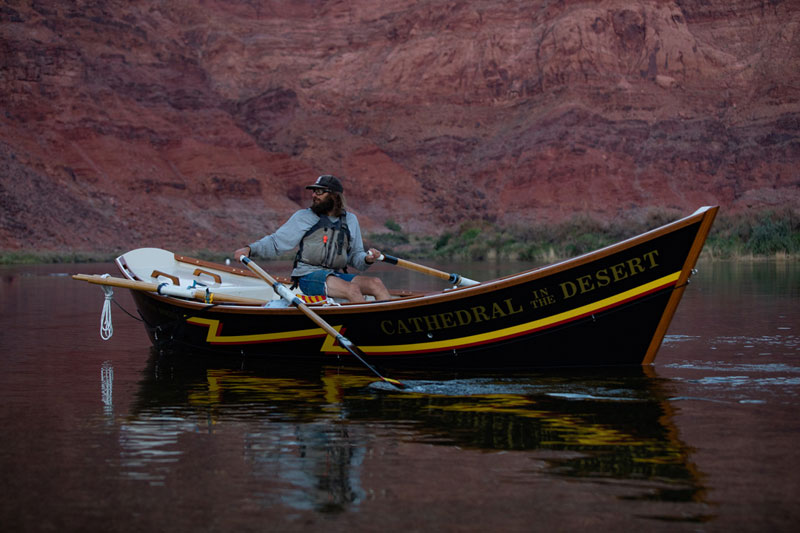 The inaugural launch of Cathedral in the Desert, a dory named in honor of late OARS founder George Wendt